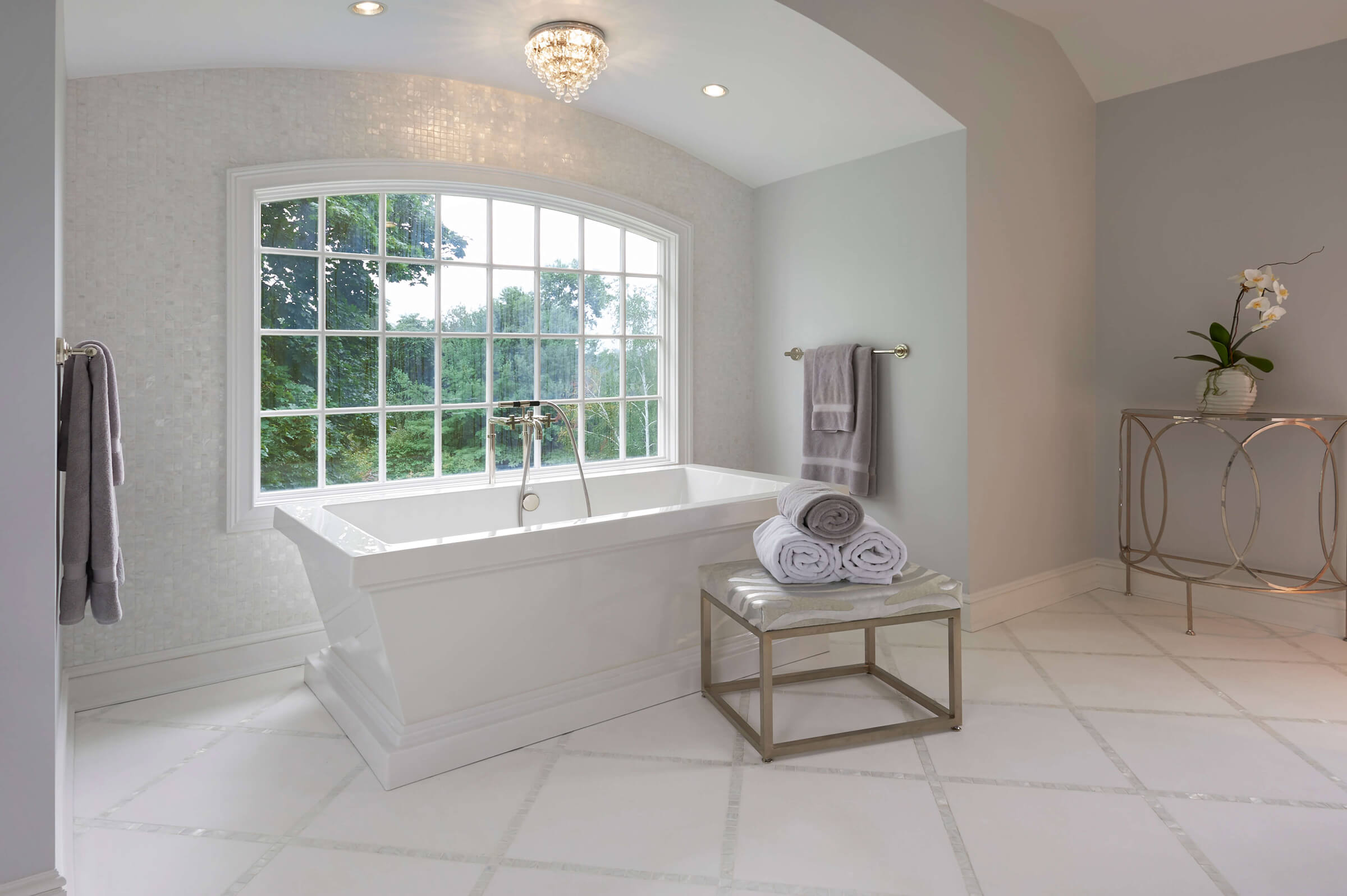 Marble Bath and Mosaic Floor Master Bathroom