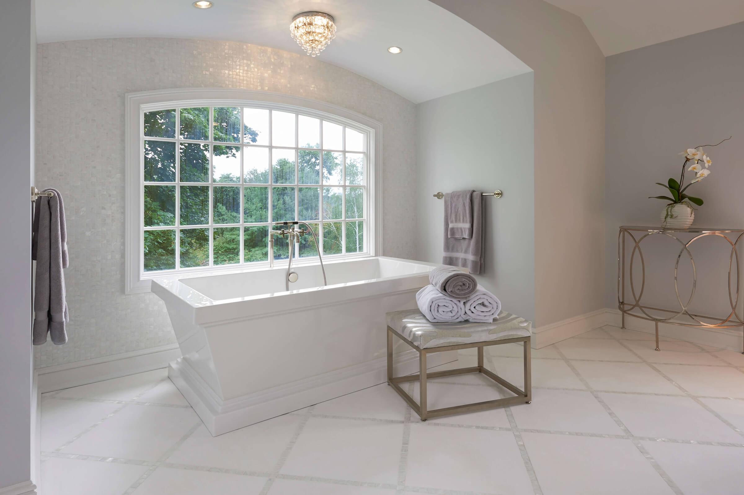 Marble Bath and Mosaic Floor Master Bathroom