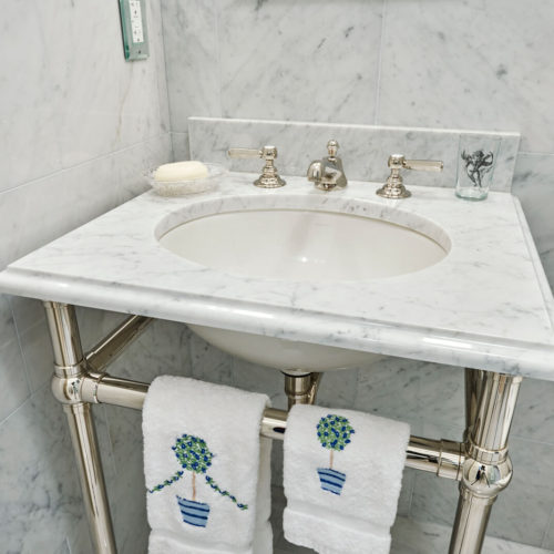 Cararra Marble Vanity Top Polished nickel leg system