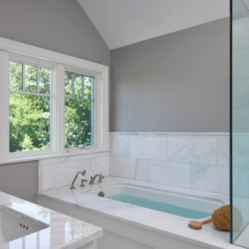 Light Veined Statuary Tub Top and Vanity Top