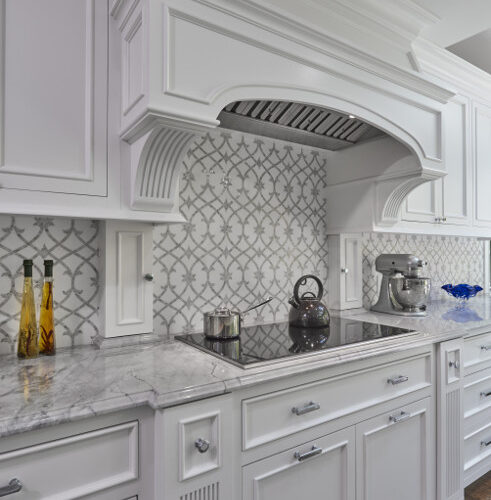 Custom mosaic tile - Honed Thassos Marble Water Jet and Polished Carrara Marble Hand Clipped Tile
